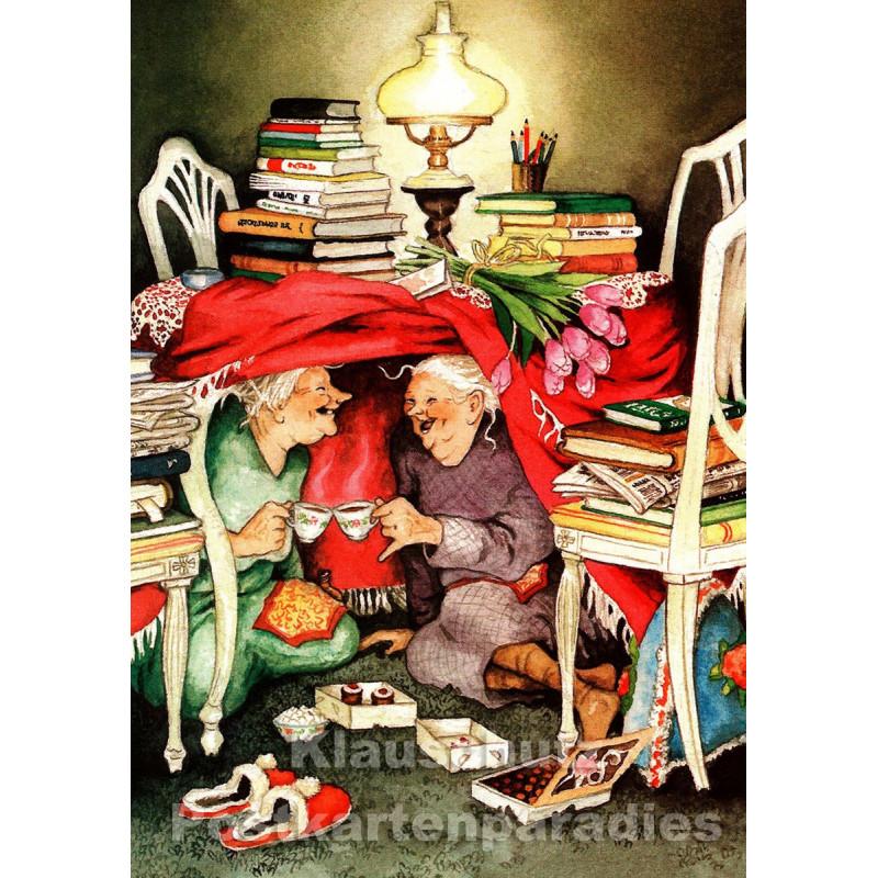 Taurus Postkarte von Inge Löök - Alte Frauen unterm Tisch