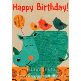 Birthday Nashorn | Kinder Geburtstag Postkarte