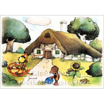 Janosch Postkarte mit Bär und Tiger | Sommeridylle