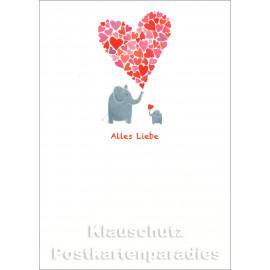 Schöne SkoKo Postkarte mit Elefanten | Alles Liebe