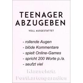 Teenager abzugeben | Lustige Rabenmütter Postkarte