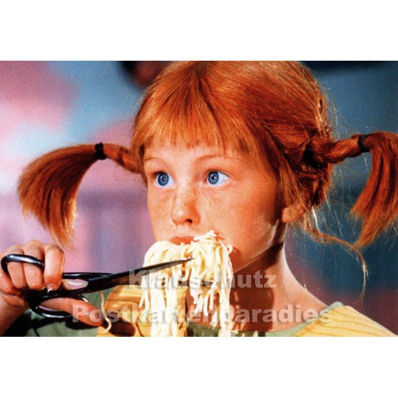 Modern Times Kinder Postkarte   Pippi Langstrumpf isst Spaghetti