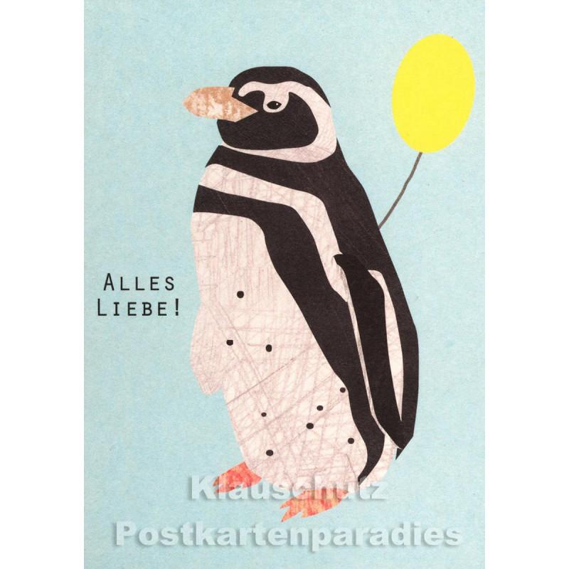 Holzschliffpappe Postkarten von Blankensteyn   Alles Liebe! Pinguin