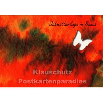 Schmetterlinge im Bauch | Gestanzte Postkarte
