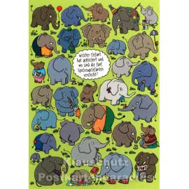 SkoKo Wimmelbild Postkarte - Welcher Elefant hat gekleckert und wo sind die fünf Spielzeugelefanten versteckt?