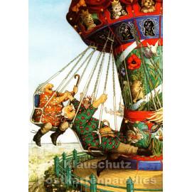 Taurus Postkarte von Inge Löök - Alte Frauen fahren Karussell