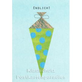 Studio Blankensteyn Holzschliffpappe Karten | Endlich - blau