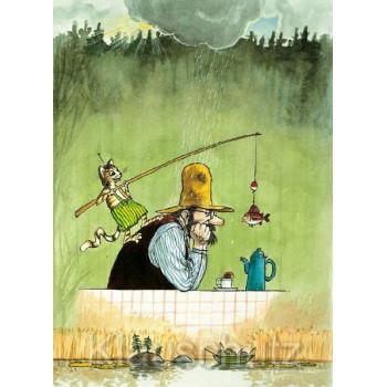 Postkarte Pettersson und Findus im Regen
