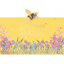 Cityproducts Postkarte: Summmmmm Geburtstag - ausgestanzt mit goldfarbener Lackierung