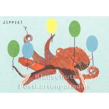 Holzschliffpappe Postkarte von Studio Blankensteyn   Jippie! Oktopus