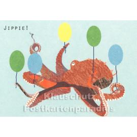 Holzschliffpappe Postkarte von Studio Blankensteyn | Jippie! Oktopus