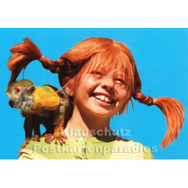 Kinder Postkarte | Pippi Langstrumpf und Herr Nilsson