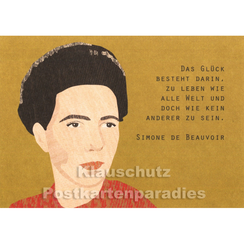 Holzschliffpappe Zitat Postkarte von Studio Blankensteyn | Simone de Beauvoir