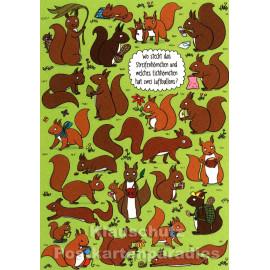 SkoKo Wimmelbild Postkarte - Wo steckt das Streifenhörnchen und welches Eichhörnchen hat zwei Luftballons?