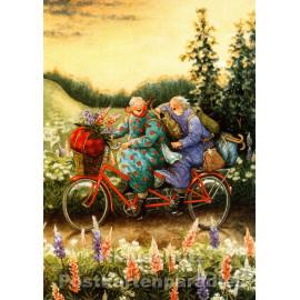 Taurus Postkarte von Inge Löök - Alte Frauen fahren Tandem
