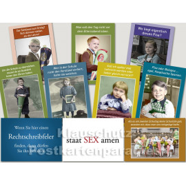 10 schöne und lustige Postkarten vom Postkartenparadies zum Thema Schule im Sparpaket.