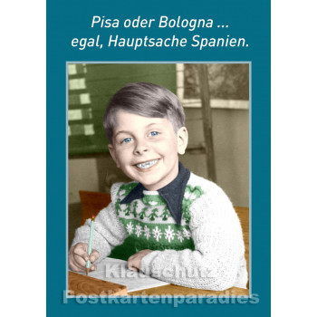 10 Postkarten vom Postkartenparadies zum Thema Schule im Sparpaket. | Pisa oder Bologne - JS356