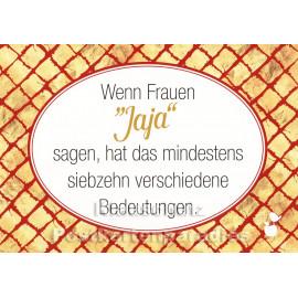 """Mainspatzen Sprüche Postkarte: Wenn Frauen """"Jaja"""" sagen ..."""
