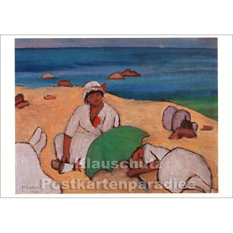 Taurus Kunstpostkarte | Gabriele Münter - Am Strand