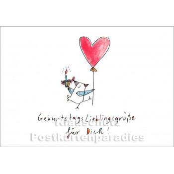 Geburtstagslieblingsgrüße für Dich | Postkarte von karindrawings / Discordia