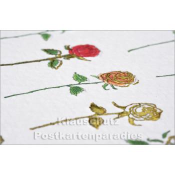 Geprägte Glückwunschkarte mit Rosen - Details
