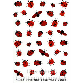 Alles Gute | Marienkäfer Postkarte von Taurus