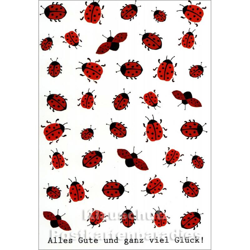 Alles Gute   Marienkäfer Postkarte von Taurus