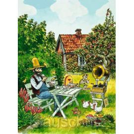 Pettersson und Findus essen Kuchen im Garten - Postkarte