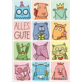 SkoKO Geburtstagskarte mit Tieren - Alles Gute