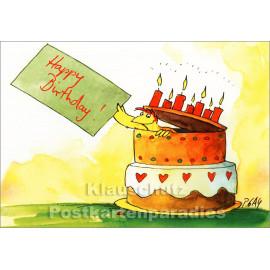 Postkarte Happy Birthday - Huhn mit Geburtstagstorte von Peter Gaymann