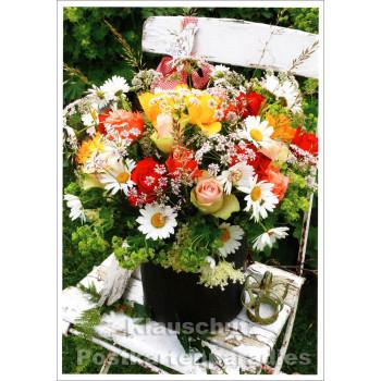 Rannenberg Foto Blumen Postkarte   Stuhl mit Sommerstrauß