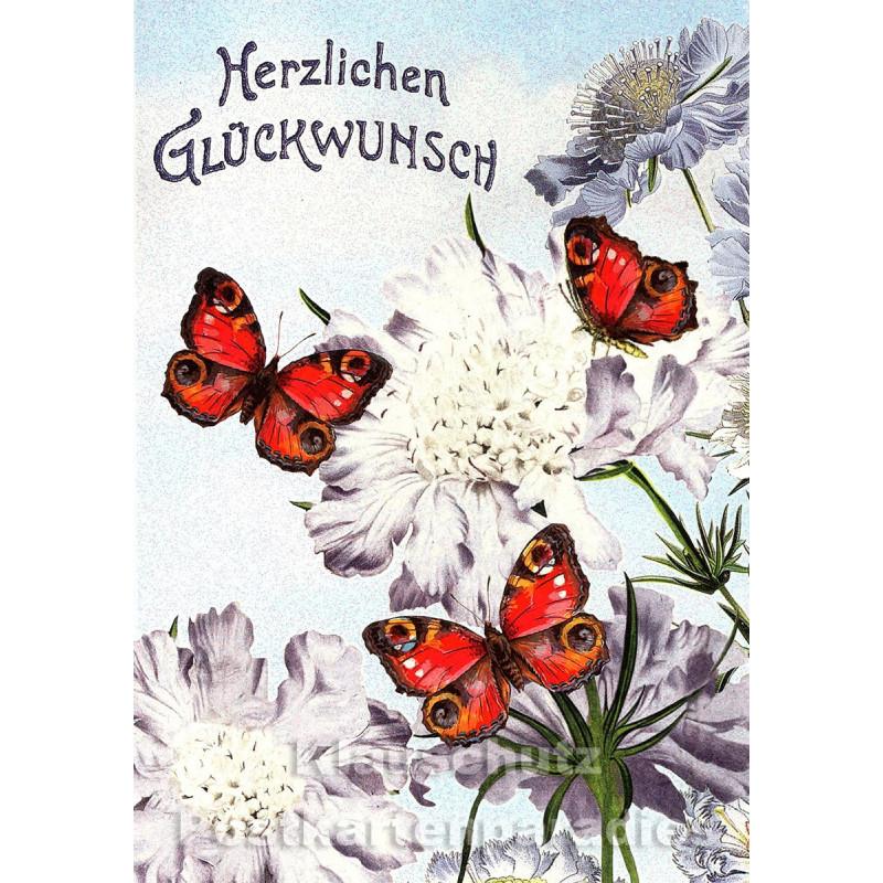 ActeTre Glückwunsch Doppelkarte - Blumen und Schmetterlingen
