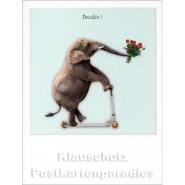 Polacard Doppelkarte von Taurus | Elefant auf Roller - Danke!