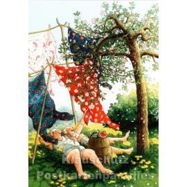 Taurus Postkarte von Inge Löök - Alte Frauen - Sommergenuss im Garten