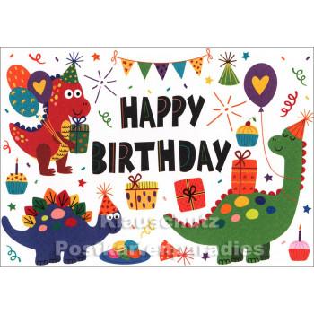Happy Birthday - Dinosaurier Geburtstagskarte von SkoKo