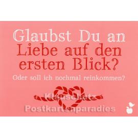 Mainspatzen Postkarte: Glaubst du an Liebe auf den ersten Blick?