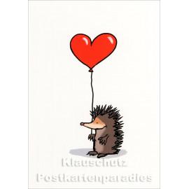 Rannenberg Comic Postkarte - Igel mit Herz-Luftballon