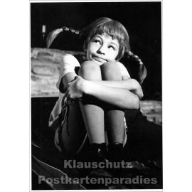 Kinder Postkarte von Modern Times| Pippi Langstrumpf s/w Foto