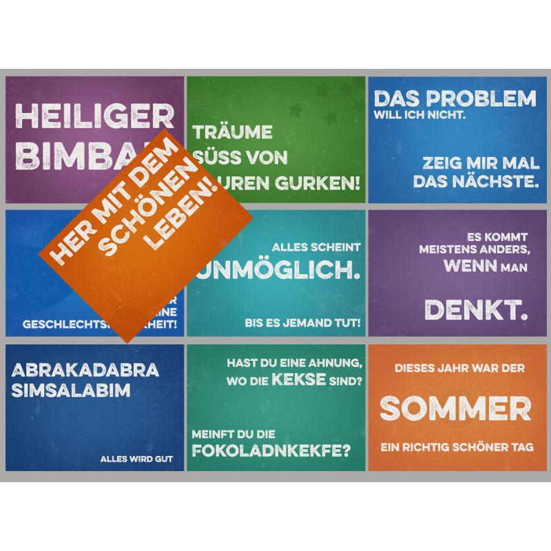 Retro Sprüche Sparset mit 10 lustigen Postkarten