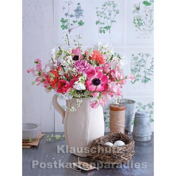 Postkartenbuch von Rannenberg mit 15 Karten | Blumen Bouquets - Blumenstrauß in Rosatönen