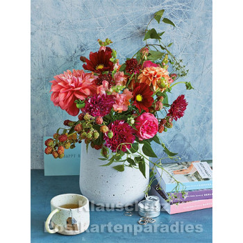 Postkartenbuch von Rannenberg mit 15 Karten | Blumen Bouquets - Roter Blumenstrauß