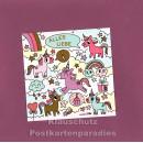ActeTre Puzzlecard mit Einhörnern - Alles Liebe - mit Glückwunschkarte und Umschlag
