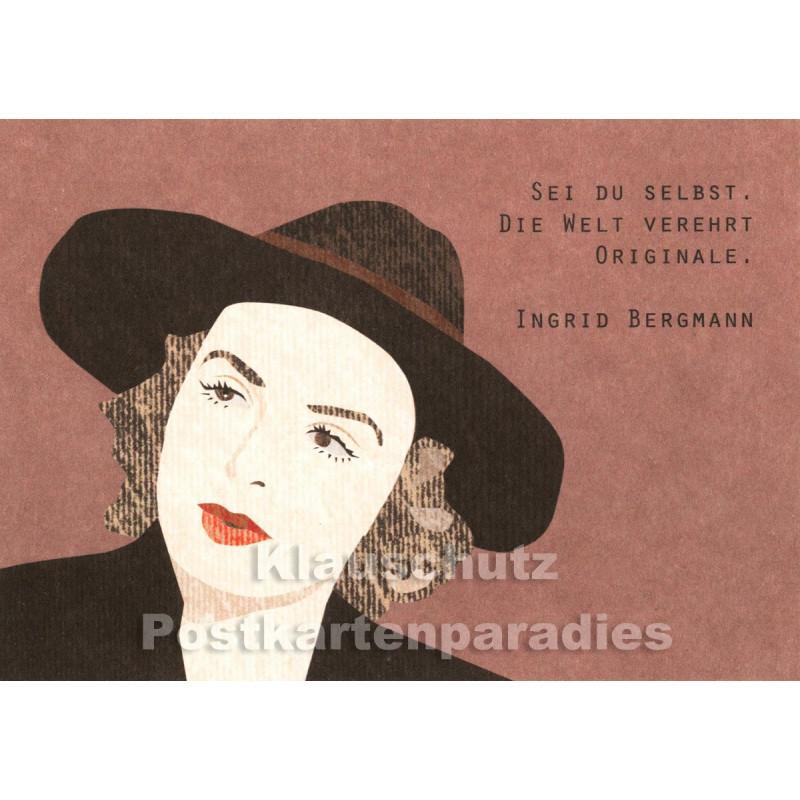 Holzschliffpappe Zitat Postkarte von Studio Blankensteyn | Ingrid Bergmann