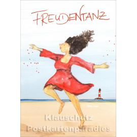 Zebrafisch Postkarten | Freudentanz - Frau am Strand