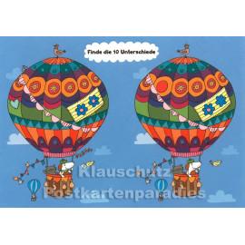 Ballon Rätsel - Finde die 10 Unterschiede - SkoKo Wimmelbild Postkarte