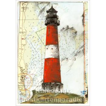 Leuchtturm Postkarte Hörnum von Ole West / Tidenhub Verlag