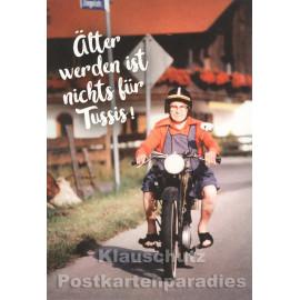 Doppelkarte zum Geburtstag - Älter werden ist nichts für Tussis - alte Frau auf Motorrad