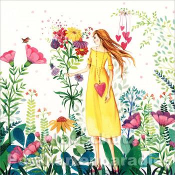 Frau im Garten | Quadratische Postkarte von ActeTre