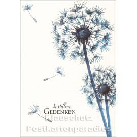Trauer Doppelkarte von ActeTre mit Pusteblumen - In stillem Gedenken