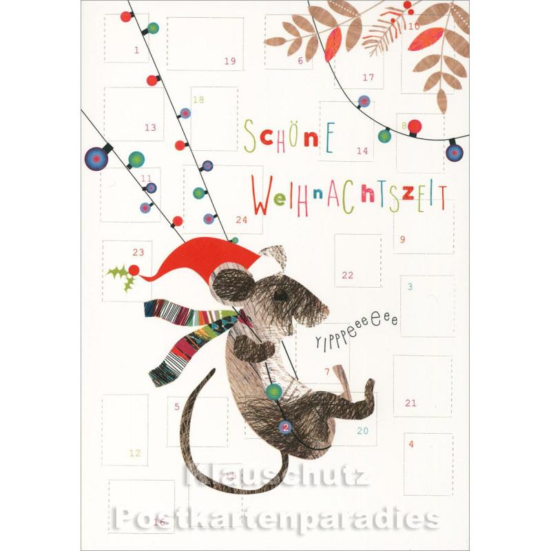 Doppelkarte Adventskalender von Discordia mit Maus - Schöne Weihnachtszeit